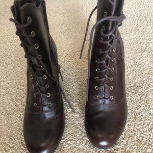 Shoes - Brown leather lace up heeled booties